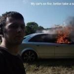 Selfie voiture en feu